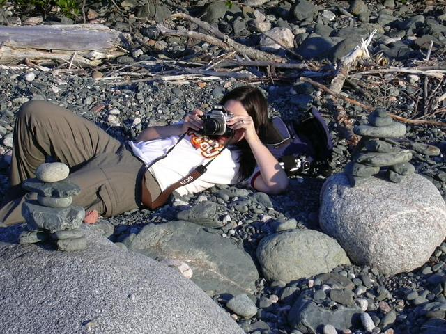 Erica shooting pictures at Old Woman Bay
